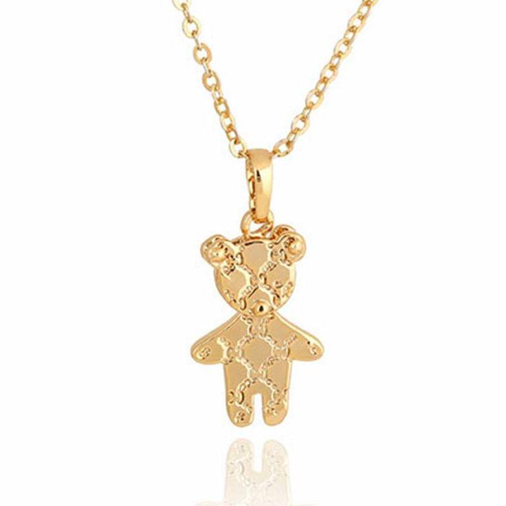 cute gold mini Teddy bear pendant necklace
