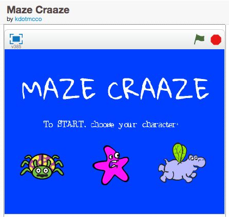 Maze Craaze: a simple, appealing scratch game for remixing and teaching broadcast messages and conditional statements.