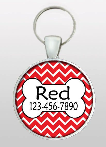 This listing is for a hand made pet ID tag with a slightly different, red chevron background. You supply the name and phone number at check out and I