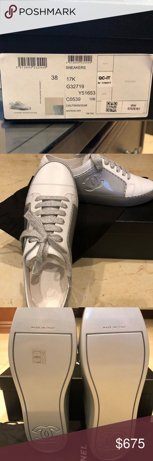 Chanel sneakers size 38 Brand new Chanel sneakers size 38 2017/2018 collections  Original price $825 USD + tax Fabric: Silver 0.4 in heel  10mm heel CHANEL Shoes Sneakers