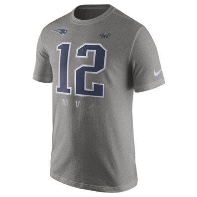 Mens New England Patriots Tom Brady Nike Gray Super Bowl XLIX Champions MVP T-Shirt
