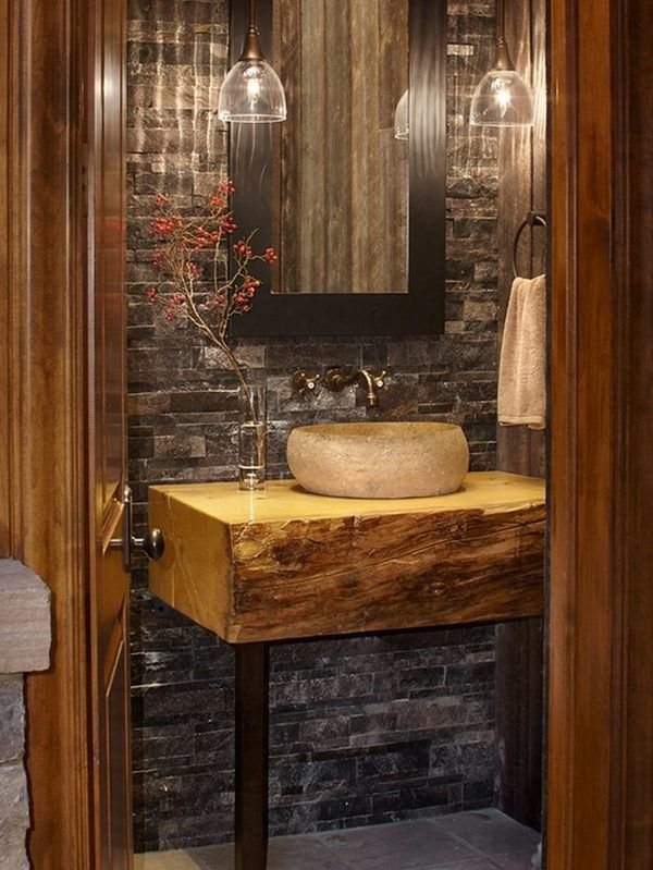 Gorgeous rustic bathroom ideas vanity unit stone wall for Colonial style bathroom vanities