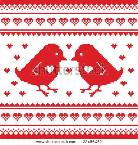 Romantic embroidery pattern for Valentine's Day by RedKoala #love #birds #seamless