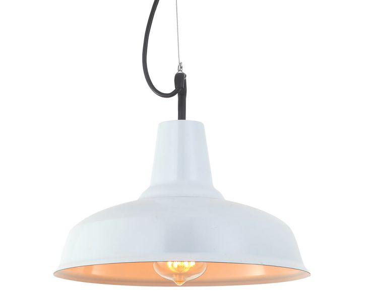 Lámpara colgante retro metal blanca #retro #vintage #colgante #lampara #iluminacion