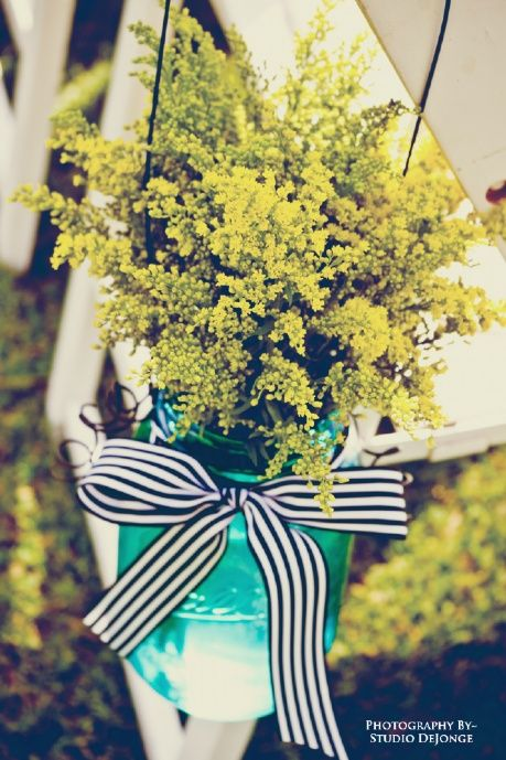 Wedding Aisle Hanging Vases~ Simple with a Nautical Twist~ Teal Mason Jars, Yellow Solidago, Navy & White Striped Ribbon