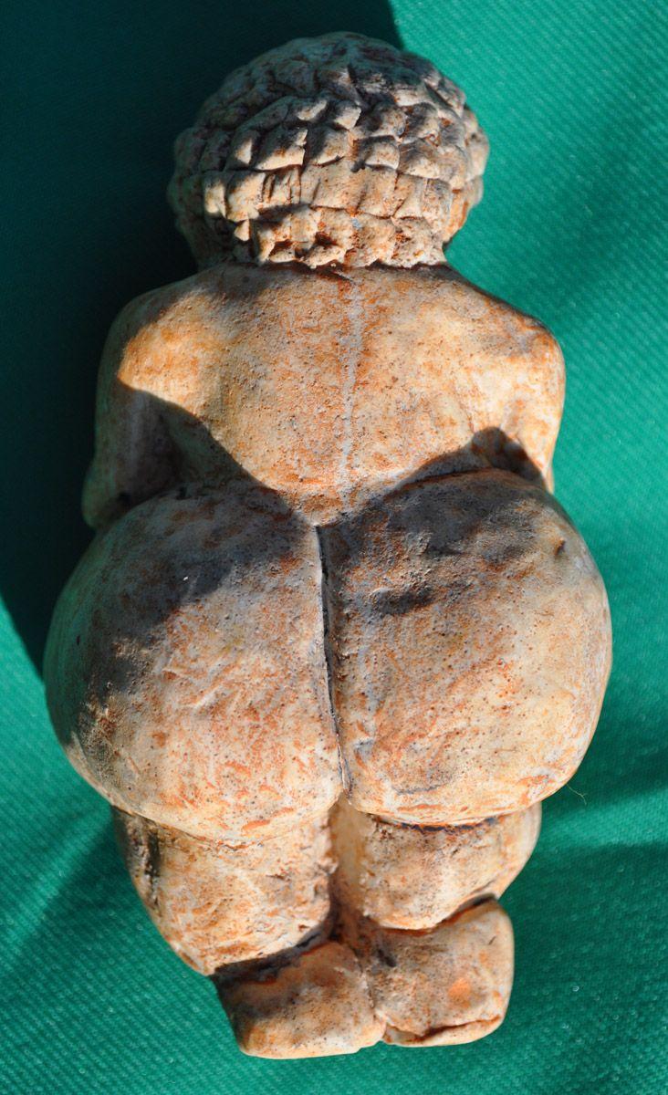 Venus of Willendorf (replica), Age: Around 25,000 BCE; Material: Oolitic Limestone; Found: Willendorf (Austria) in 1908; Present Location: Naturhistorisches Museum in Vienna (Austria); Length: 10.6cm; Width: 5.7cm; Depth: 4.5cm.