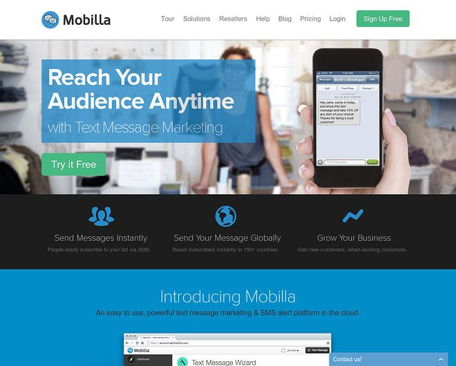 International SMS marketing and bulk SMS Messaging platform | Mobilla - CoolHomepages Web Design Gallery