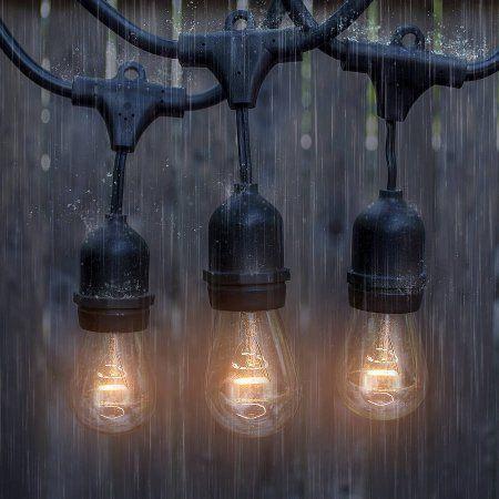 Outdoor & Indoor String Lights, Commercial Grade Heavy Duty Weatherproof Incandescent Lighting, 48' Long String Light with 15 Sockets and 15 Incandescent Light Bulbs, Black