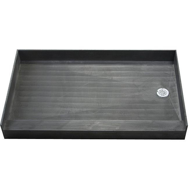 Tile Ready Shower Pan 37 x 60 Right PVC Drain