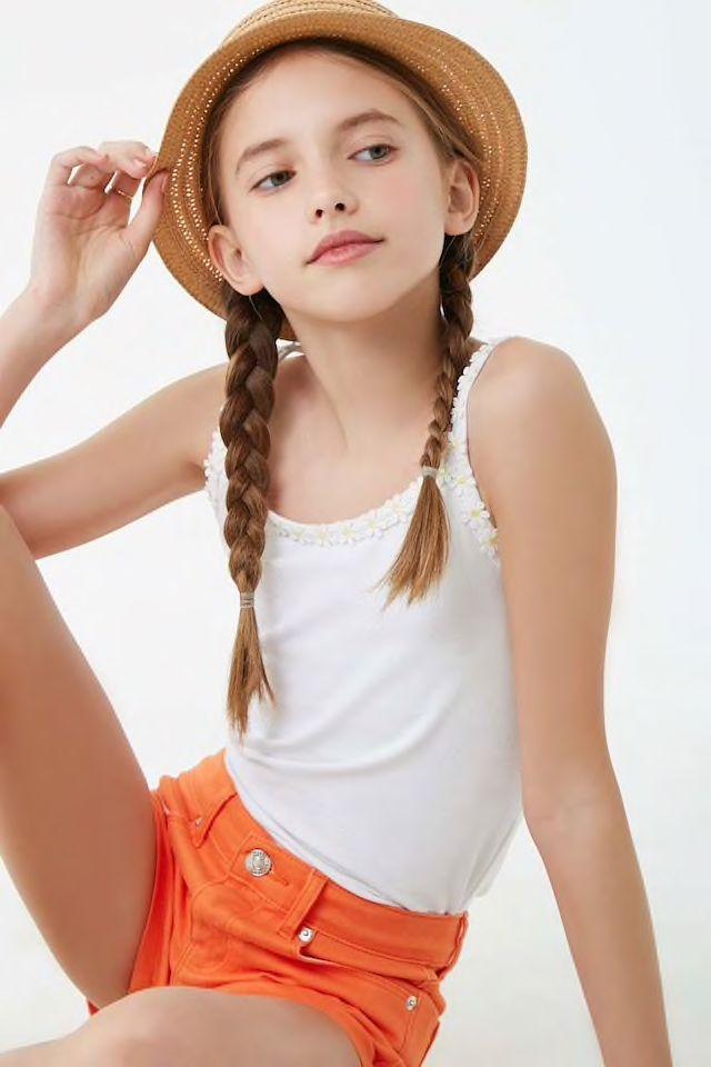 Girls Daisy Trim Cami Kids Girls Fashion Tween Cute Girl