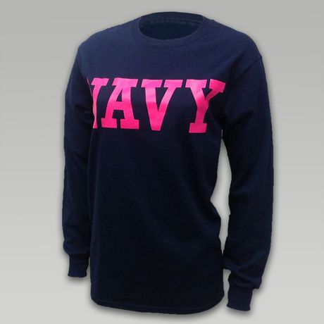 Navy Women's Block Longsleeve T-Shirt | ArmedForcesGear.com | Armed Forces Gear