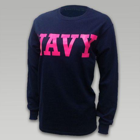 Navy Women's Block Longsleeve T-Shirt | ArmedForcesGear.com | Armed Forces Gear
