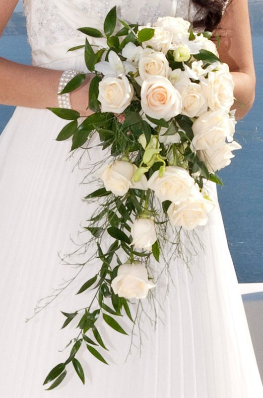white roses wedding bouquet