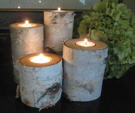 "Birch Bark Log Tea Light  Candle Holders Set of 4 - 6"",4"",3"", and 2""  Tall    WEDDING CENTERPIECES"