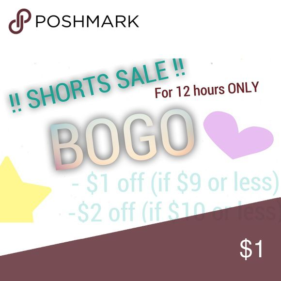 🌸 SHORTS SALE!! CLICK FOR DETAILS! 🌸 This deal applies to ALL shorts in my closet. Buy one pair of shorts and you'll get $1 off if the highest costing shorts are less than $9, and $2 off if the highest costing pair of shorts are $10 or more! :) send me an offer on your bundle and I'll counter offer if your total price is off. Please share and thanks for shopping with me! Shorts
