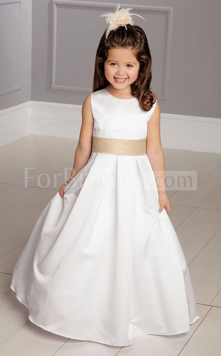 White Satin A-line Jewel Flower Girls Dress(FGD070) More