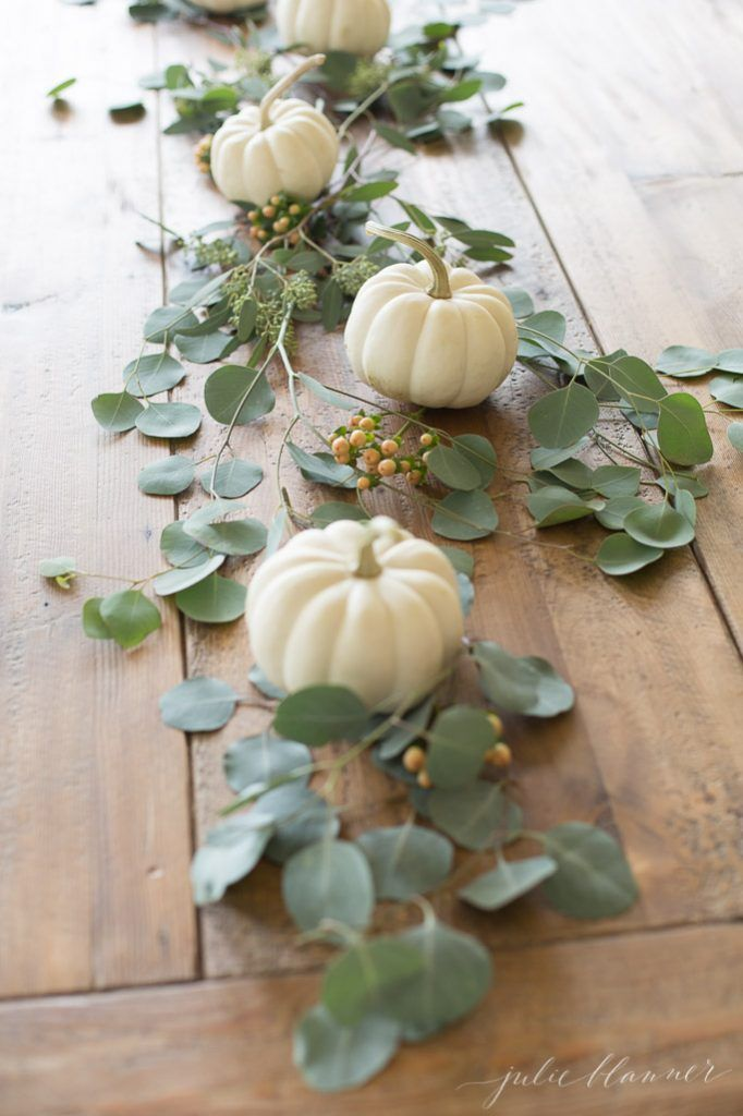 pretty Thanksgiving centerpiece with mini pumpkins