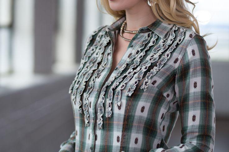 Ryan Michael Women's Ruffle Front Plaid Shirt