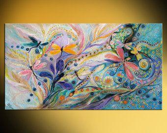 "40"" figurativa pintura abstracta en lona morado color rojo/azul luz pintura gruesa enorme pintura mural arte judío interiorismo por LenaKotliarker"