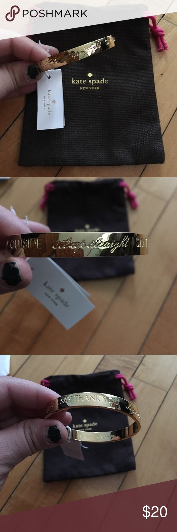 NWT Kate Spade ♠️ gold engraved bracelet Beautiful NWT Kate Spade ♠️ gold engraved gratitude bracelet, given as a gift but never worn. kate spade Accessories
