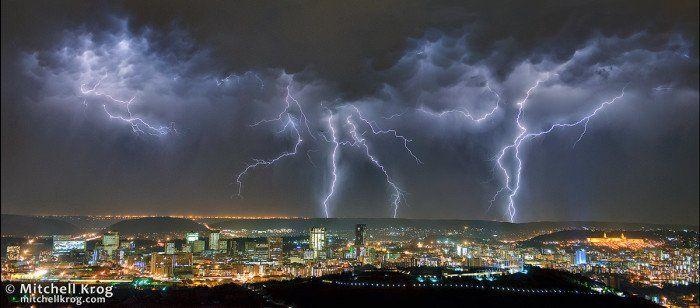 Lightning Panorama over Pretoria (Tshwane), South Africa - http://mitchellkrog.com/lightning-photography/lightning-panorama-over-pretoria-tshwane-south-africa/