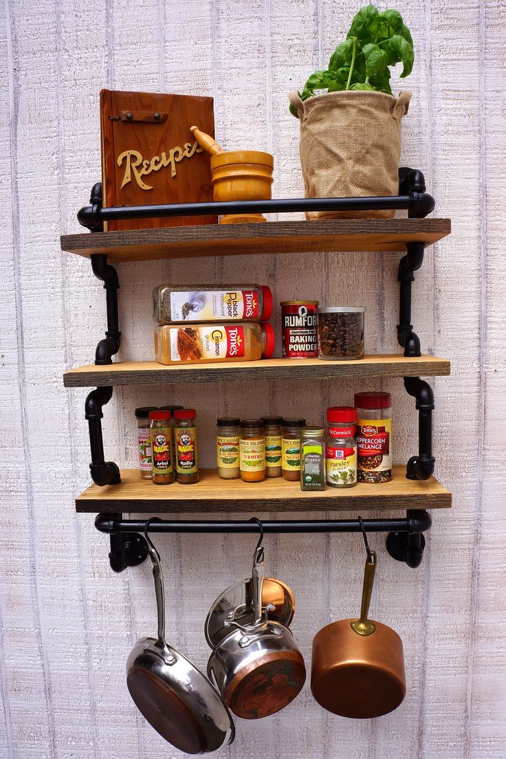 Gourmet kitchen three level shelf with pot rack made from for Reclaimed wood pot rack