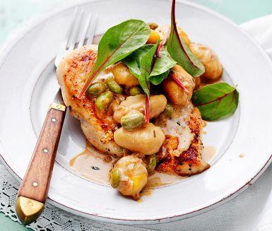 Recept: Potatisgnocchi med kyckling och sojabönor