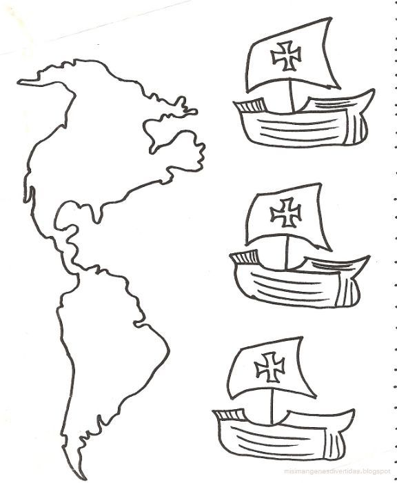 Dibujos para colorear de Cristobal Colón y sus carabelasWIKIPEKES para niños