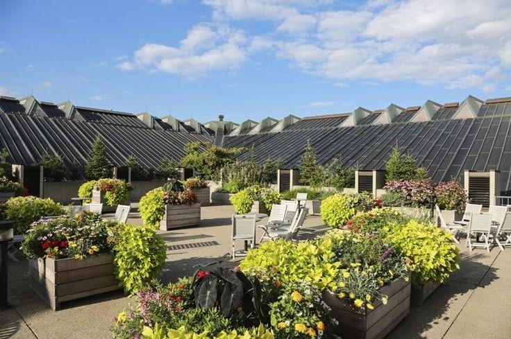 Erhöhten Pflanzgefäße sind eine wunderbare Option, wenn Sie einen Gartensitzplatz erstellen möchten, aber nicht tatsächlich Pflanzen nichts auf dem Dach. Hier sind einfache Holzkisten voller Grün, machen einen schönen Platz zum sitzen und entspannen, um die Sonne zu genießen. Kleine Bäume umgeben den Raum um einen schönen Rahmen zu erstellen.
