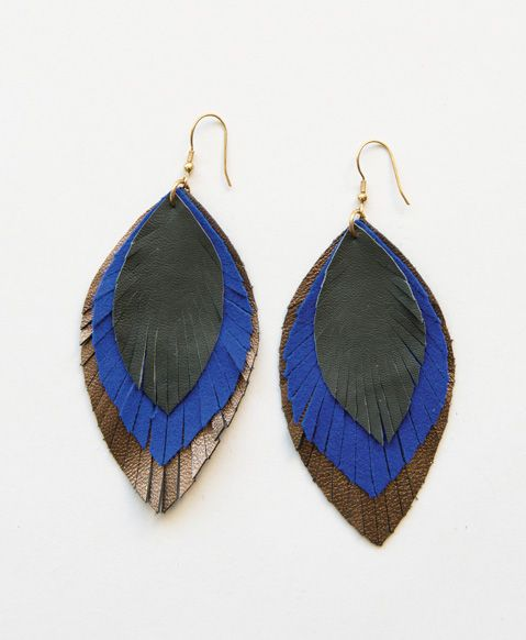 An update to our favorite Annie's Feathered Earrings, these edgy feathers feature bold cobalt and mod metallics - See more at: http://andreaduran.noondaycollection.com/earrings/feathered-fringe-earrings-cobalt#sthash.9QfZAIK3.dpuf
