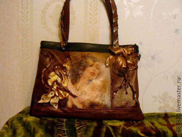 Купить сумка из кожи Магдалена2 - коричневый, рисунок, сумка ручной работы, сумка из натуральной кожи