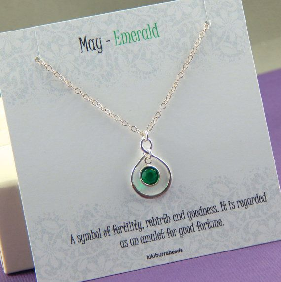 May Birthstone Necklace Personalized infinity by Kikiburrabeads