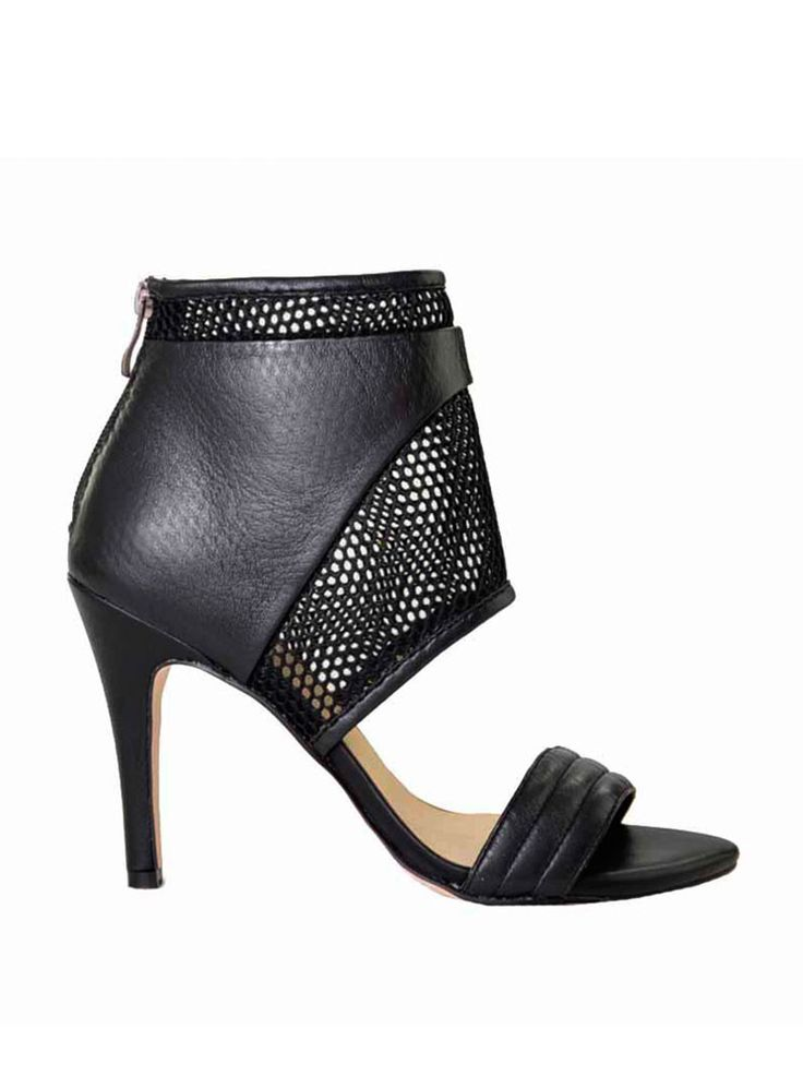 Mary & Me - NUDE - The Point Heels - Black - Leather - Mesh $159.90