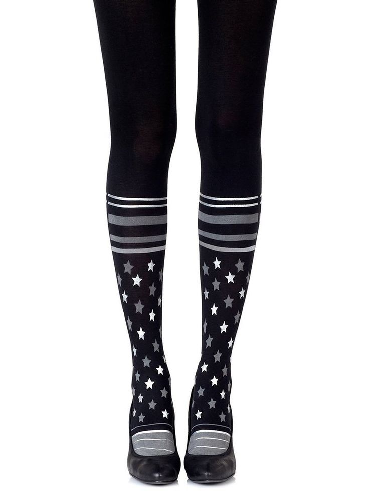 Sock It To Me Silver Tights #Black #Cotton #Graphic