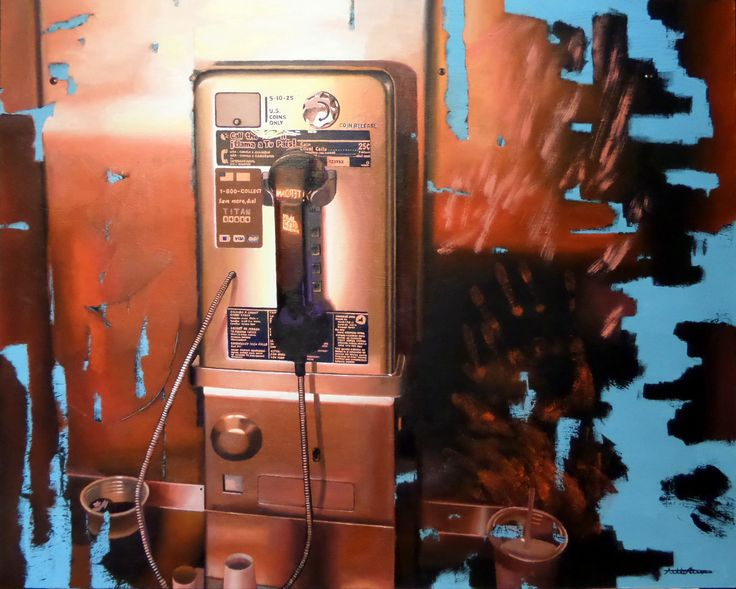 """Payphone"" 2016, oil on wood panel, 60 x 75 cm, 23,1/2 x 29,1/2"". by Antti Rytkönen"