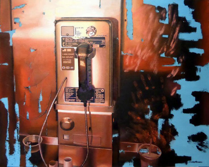 """Payphone"" 2016, oil on wood panel, 60 x 75 cm, 23,1/2 x 29,1/2"". by Antti Rytkönen"