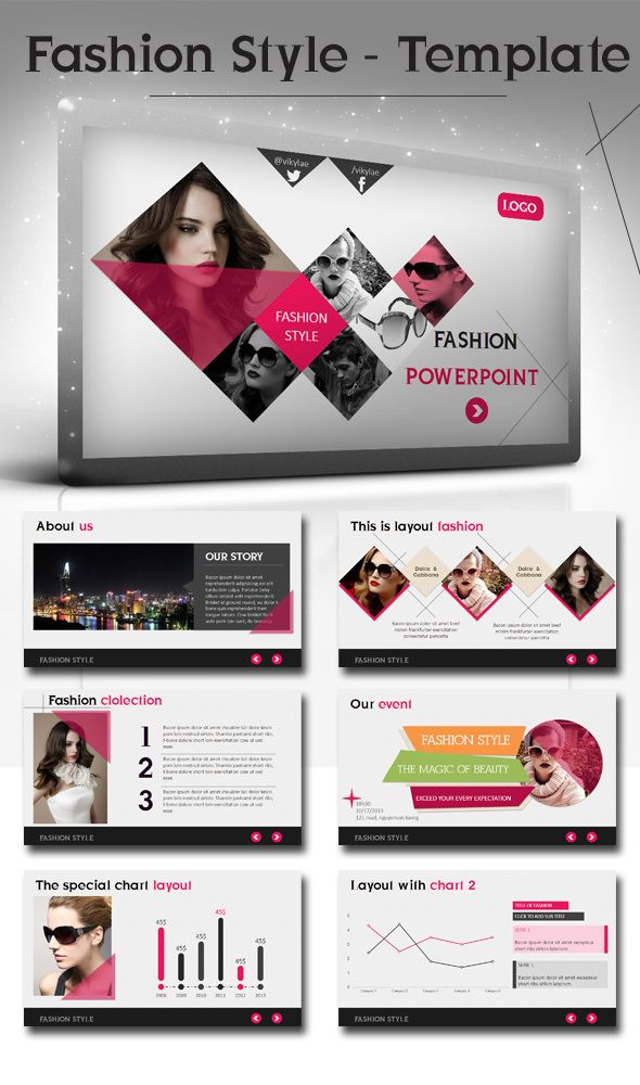 Fashion Style Powerpoint Presentation Template by Bui Cuong, via Behance