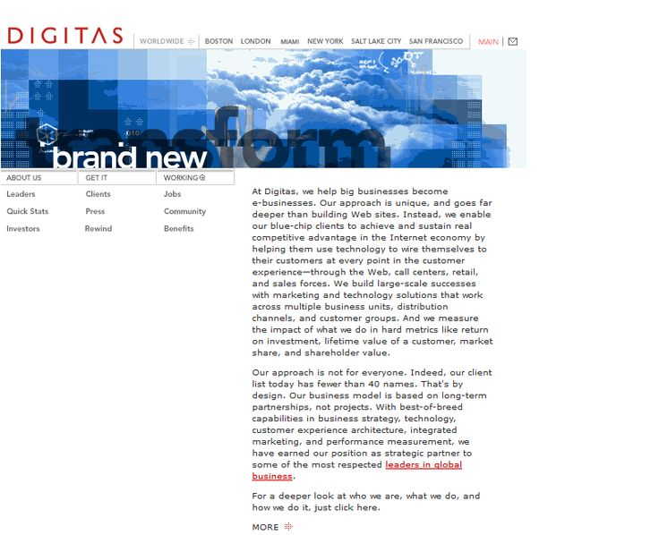 Digitas website in 2001