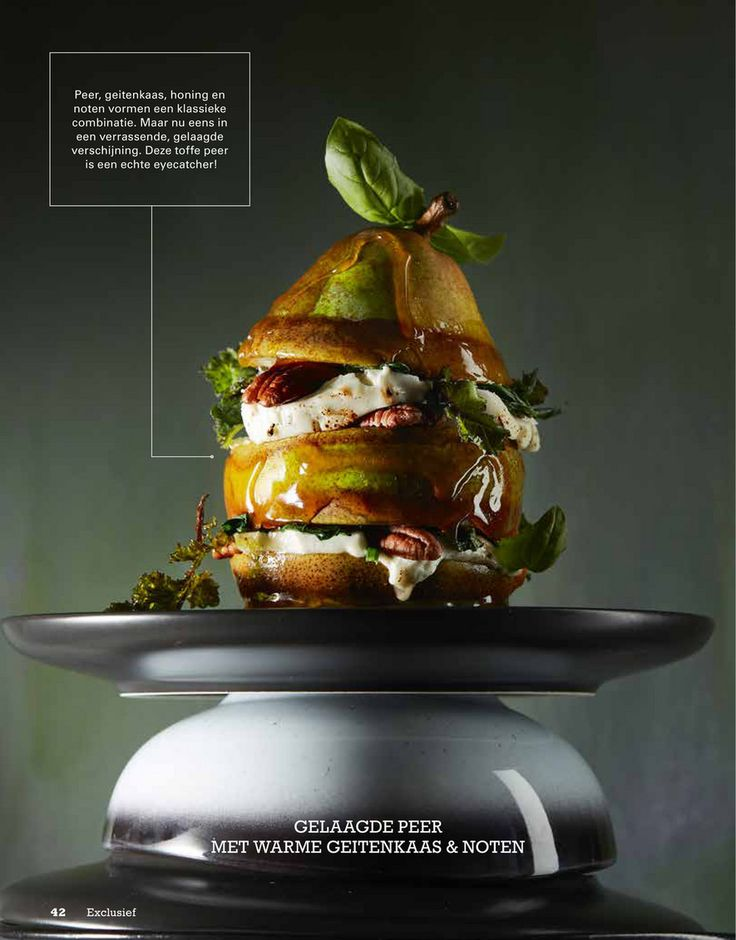 Stapelen is de trend in de wereld van salades. Niet husselen, maar laagjes creëren van de afzonderlijke ingrediënten. Gelaagde peer met warme geitenkaas en noten