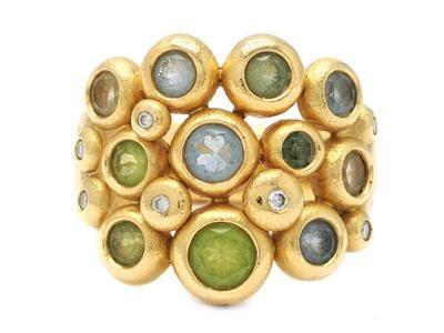 OLE LYNGGAARD, ring, Bubble (trippel), 18K gold, genuine colourstones amongst other aquamarine, peridot, beryl, citrine, 7 brilliant cut diamonds approx 0,11 ctw, approx TW/VS, design Charlotte Lynggaard. Item no: 1076461 - Kaplans Auktioner