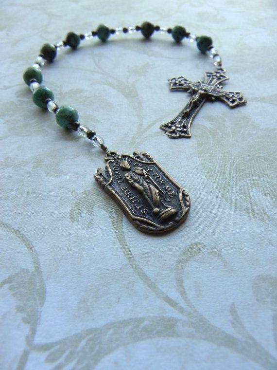 St. Jude Chaplet Pocket Rosary Catholic Saint by FaithBeads