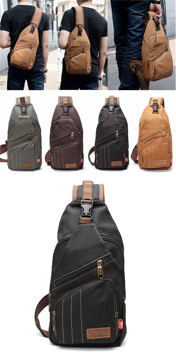 US$23.16 + Free shipping. Men outdoor canvas travel hiking crossbody bag casual chest bag.