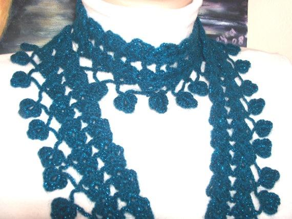 women's blue mini stylish silvery scarf by colourfulrose on Etsy, $24.90