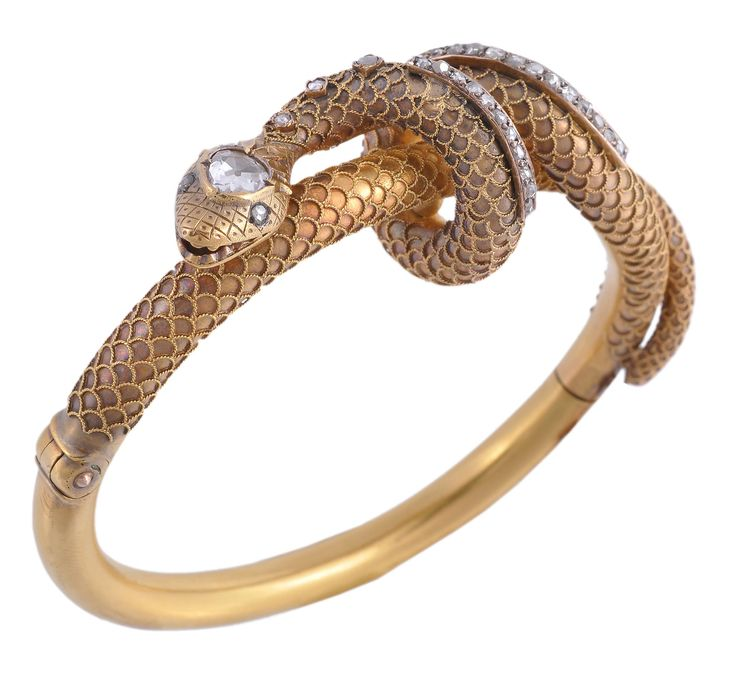 Love this Victorian diamond set hinged snake bangle from the Fine Jewellery sale last year.