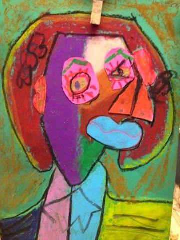 beeldende vorming: Kubistische portretten in de stijl van Pablo Picas...