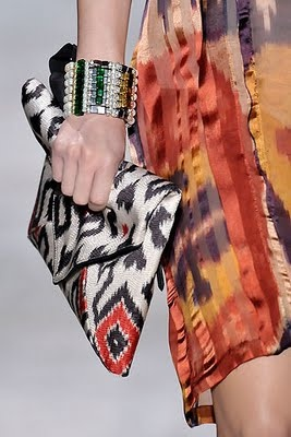 Dries Van Noten Batik Ikat Inspired runway collection dress and clutch.