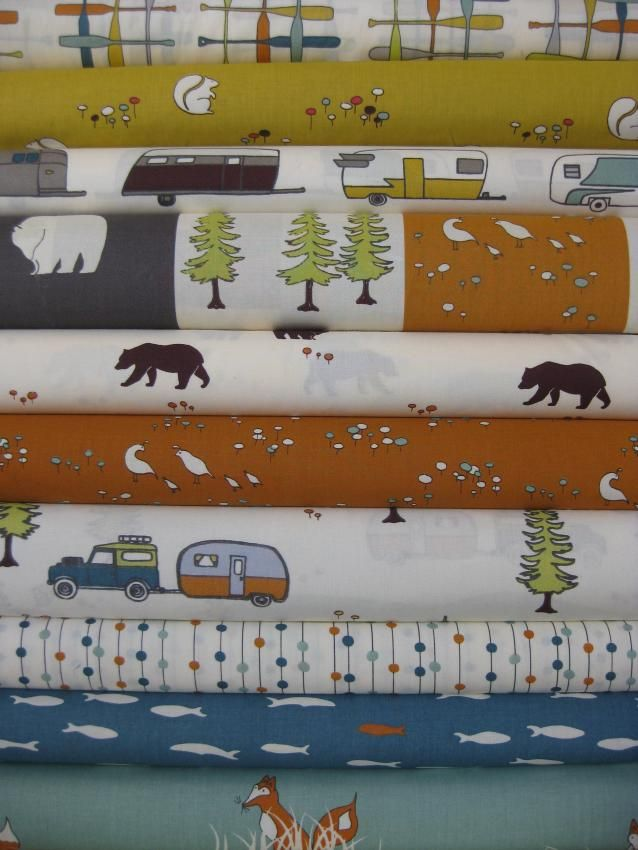 Jay-Cyn Designs for Birch Organic Fabrics, Camp Sur in FAT QUARTERS, 10 Total--For Vance