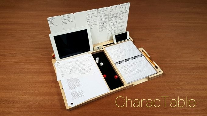 CharacTable:RPG Board for Character Sheet Dice, Notes&Tablet by Matthew New — Kickstarter