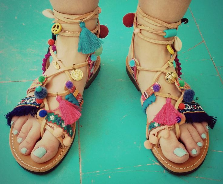 Boho sandals tassel and pon pom