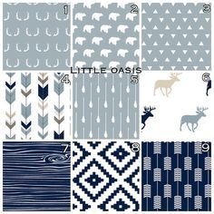 Woodland Deer Crib Bedding. Navy, Gray, aztec, arrow, antler, bear. Customize your set: crib sheet, changing cover, skirt, bumper, blanket.